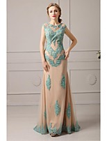 Homecoming Formal Evening Dress A-line Jewel Floor-length Lace/Tulle Dress
