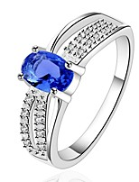 European Style Simple Oval Shape Copper Silver Plated Zircon Ring For Women(Blue)(1Pc)