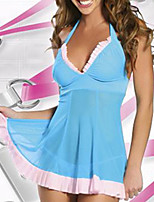 Sexy Lingerie Women Nightwear Dresses Sleepwear Sheer Panties Ruffle Strap G-string Thong T78