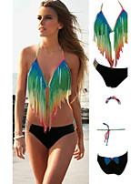 Women's Halter Bikinis , Color Block/Tassels Push-up Polyester/Spandex Multi-color