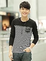 Han&Chloe®Men's Round Neck Long-Sleeved Striped T-Shirt