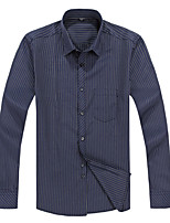 2015 Business Casual Long Sleeve Turn-down Collar Double White and Blue Striped Men Dress Shirt (2109)