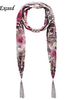 D Exceed  Ladies New European Fashionable Rose Red Flower Print Long Chiffon Scarves Necklace with Tassel Scarf