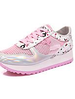 Zapatos de mujer Tul Tacón Plano Comfort/Punta Redonda Sneakers a la Moda Exterior/Casual Negro/Rosa/Blanco