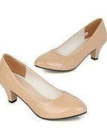 Women's Shoes Faux Leather Chunky Heel Basic Pump/Pointed Toe Pumps/Heels Office & Career/Dress/Casual Black/White/Beige