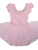 3~7 Y Kid Girls Pink/Blue/Yellow Fancy Ballet Tutu Dress with Diamond Accessories/Cotton  Performance Tulle Dancewear