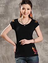 Women's Jacquard Blue/White/Black/Yellow T-shirt , Round Neck Short Sleeve Embroidery/Flower