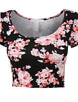 Women's Casual/Print Micro-elastic Short Sleeve Short T-shirt (Polyester)