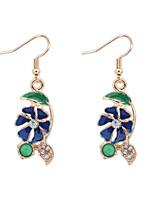 Women's European Style Fashion Flowers Leaf Alloy Drop Earrings With Rhinestone
