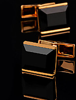 Toonykelly® Fashion Gold Plated Black Agate Men Shirt Cufflink Button(1 Pair)