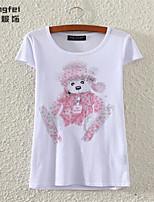 Women's Print White T-shirt , Round Neck Short Sleeve