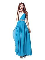 Formal Evening Dress - Ocean Blue A-line Bateau Floor-length Chiffon