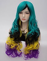 European and American Wind Fashion Color Big Volume High Temperature Silk Blue  Gradient Wig