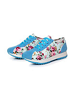 Women's Shoes Canvas Flat Heel Comfort/Round Toe Fashion Sneakers/Athletic Shoes Outdoor/Athletic/Casual Black/Blue