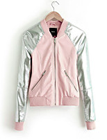 Women's Pink Jackets , Casual Crew Neck Long Sleeve