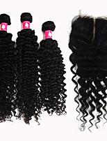 Forawme Brazilian Virgin Hair Deep Wave 3 Pcs With 1 pc Lace base Closure Human Hair   #1b Hair Bundles With Closures