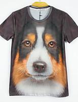 European Style TEE Digital Printing 3D  Animal Yellow Dog T-shirt Harajuku Sleeved T-shirt