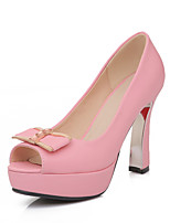 Women's Shoes Faux Fur Cone Heel Heels/Peep Toe/Platform/Round Toe Sandals Office & Career/Dress/Casual Blue/Pink/Red