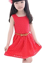 Summer Kids Girl's Chiffon Dot Hollow Sleeveless Casual Dress with Bow Belt (Chiffon)
