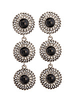 Women's Retro Classic National Wind Round Pendant Stud Earrings HJ0078