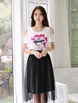 Women's Print/Work Round Collar Elegant Micro-elastic Short Sleeve Regular Blouse (Chiffon)