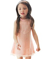 Summer Kids Girls Clothes Lace Dress Beading Solid Color Party Dresses (Cotton Blends)