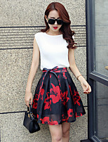 Women's Floral/Solid Sleeveless Bow/Pleated