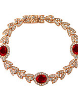 T&C Women's Noble Ruby Bracelet 18k Rose Gold Plated Rhinestones Leaf and Red Crystals Princess Style Jewelry