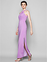 Ankle-length Satin Chiffon Bridesmaid Dress - Lilac Plus Sizes / Petite Sheath/Column Halter