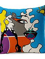 Stylish Colorful Pop Art Patterned Cotton/Linen Decorative Pillow Cover