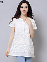 Yu Ling Women's Organza Embroidered Stitching Cotton Short Sleeve Casual Blouse
