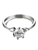 Sjeweler Ladies Platinum Plating Simple Zircon Ring