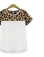 Women's Leopard Chiffon Printed Short-Sleeved T-Shirt