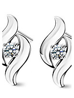 Women's Willow Sterling Silver Stud Earrings With Rhinestone