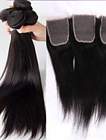 4Pcs Lot Brazilian Virgin Hair 3bundles Hair Weft With 1Pcs Free Part Lace Closure Straight Hair Natural Color