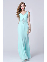 Formal Evening Dress Sheath/Column V-neck Floor-length Polyester