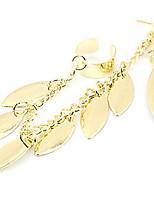Korean Fashion Personality Small Leaves Earrings (Gold) Women'S Long Earrings