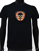 Rechargeable Battery Included Light Up LED EL T-shirt Flame Skull Adjustable Sound Activated and Multiple Flashing Modes