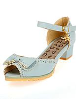 Chaussures Femme - Habillé - Bleu / Violet / Blanc / Beige - Talon Bas - Bout Ouvert / Bout Pointu - Sandales - Similicuir