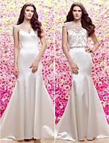 Lan Ting Trumpet/Mermaid Jewel Sweep/Brush Train Wedding Dress (Satin/Tulle)