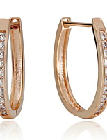 Women's U-Shaped Exaggerated Fashion Silver/Titanium Hoop Earrings With Cubic Zirconia