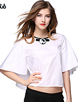 Women's O-neck Loose Half Sleeve Pure Cotton Crop Top Solid White Short Shirt