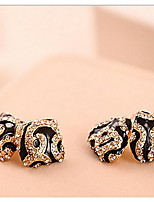 Leopard Cristal Triangle and square Stud Earrings With Rhinestone