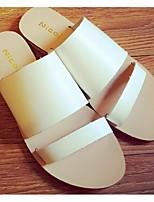 Chaussures Femme - Décontracté - Noir / Blanc - Talon Plat - Bout Ouvert - Sandales - Daim