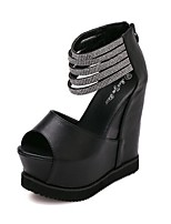 Women's Shoes Faux Leather Wedge Heel Peep Toe Platform Boots Party and Dress Black