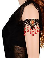 Vintage Crown Red Gem Drip Pearl Bracelet