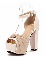 Women's Shoes Faux Leather Platform Heels/Peep Toe/Platform Sandals Office & Career Black/Beige