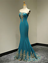 Formal Evening Dress Trumpet/Mermaid Strapless Floor-length Satin Dress