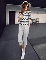 Damen T-Shirt Chiffon/Baumwoll-Mischung Kurzarm Rundhalsausschnitt