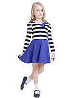 Kids Girls Spring Fall Long Sleeve Striped Bow Mini Princess Party Dresses (Cotton)